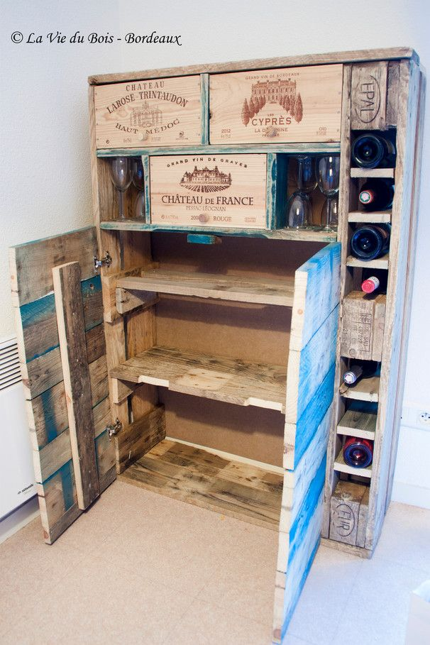 Les meubles en palettes le bar vin la vie du bois for Deco palette et caisse en bois