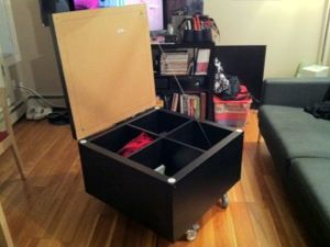 Ikea Hack 2 x 2 Expedit with Expedit casters and a Lack cover, ingenious! Coffee table, toy chest, could upholster the top for a big ottoman!