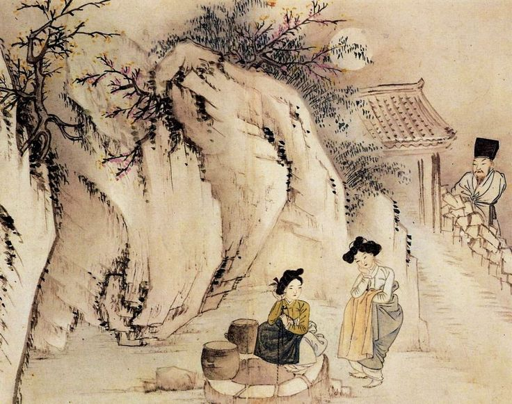 (Korea) Gossiping at the well at night, 1805 by Shin Yun-bok (1758- ?). Joseon Kingdom. colors on paper. 井邊夜話
