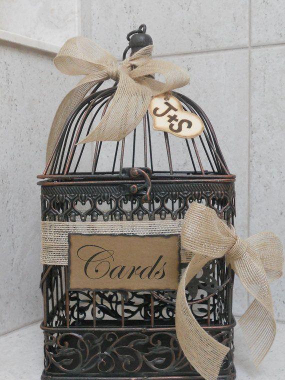Small Birdcage Wedding Card Holder / Rustic Burlap by ThoseDays