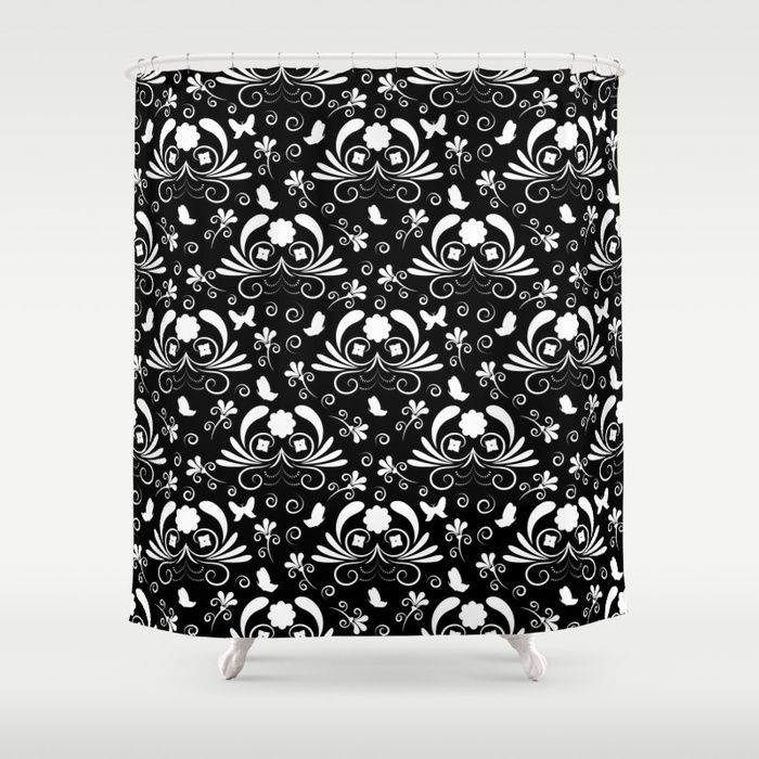 Abstract floral black and white Shower Curtain