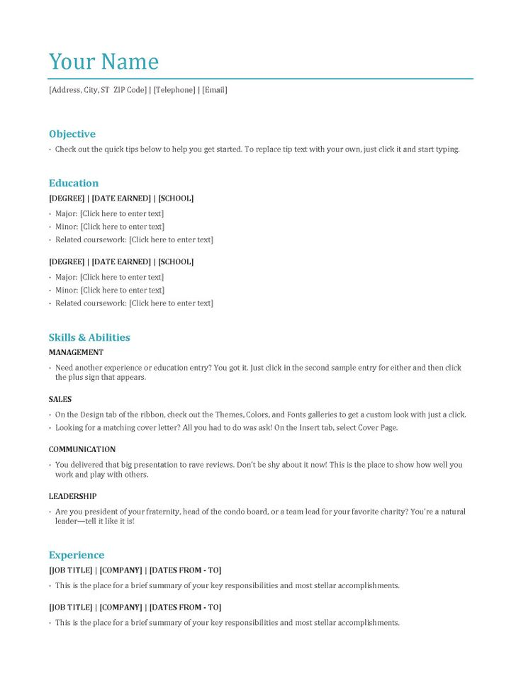 Format Resumes Sample Resume Template Chronological Chronological