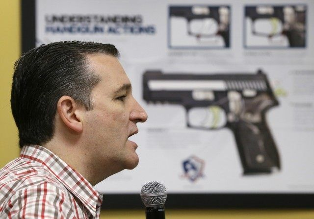 Guess the Political Party: AP Photo Lines Pistol Up with Senator, 2016 Candidate Ted Cruz's Brain. Ted Cruz
