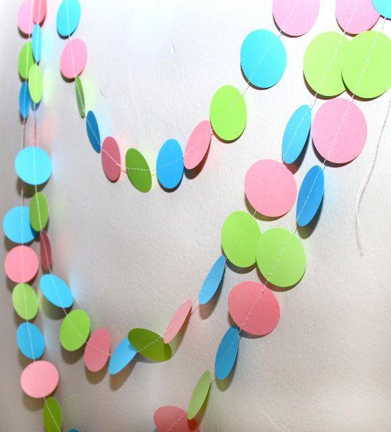 pink, blue, and green paper garland, birthday party, nursery, decoration guirlandas