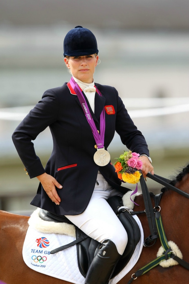 MYROYALS:   Zara Phillips (daughter of Princess Anne, granddaughter of Queen Elizabeth II) wins a Silver with Team GB at the Olympics