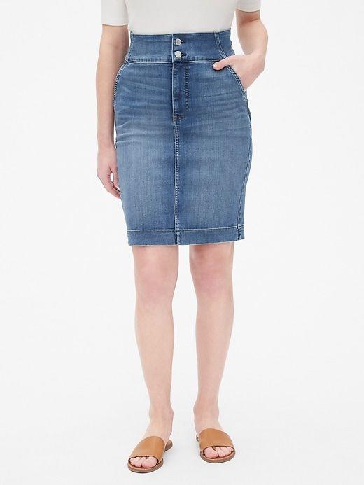 2bb73e58df Gap Women's High Rise Double-Button Denim Pencil Skirt New Medium Blue