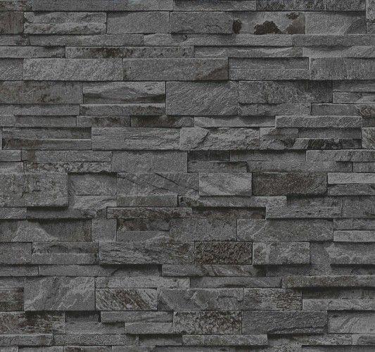Vliestapete Stein 3D Optik schwarz grau Mauer P+S 02363-40
