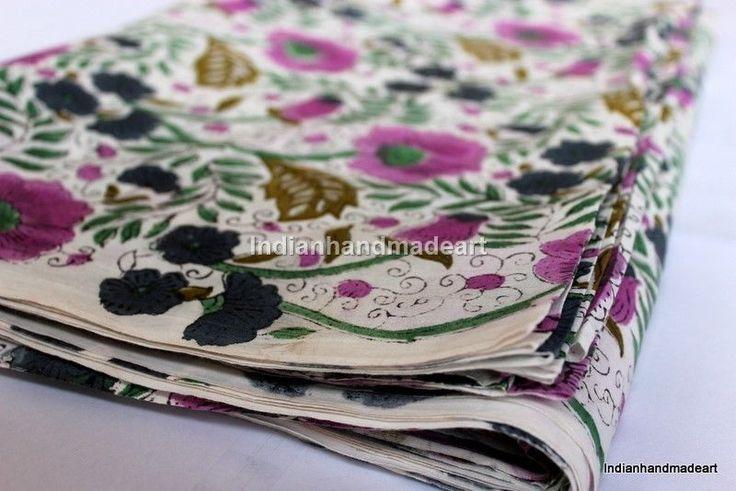 Indian Handmade Natural Hand Block Printed 1 yard 100 % Cotton Print Fabric 01 #Handmade