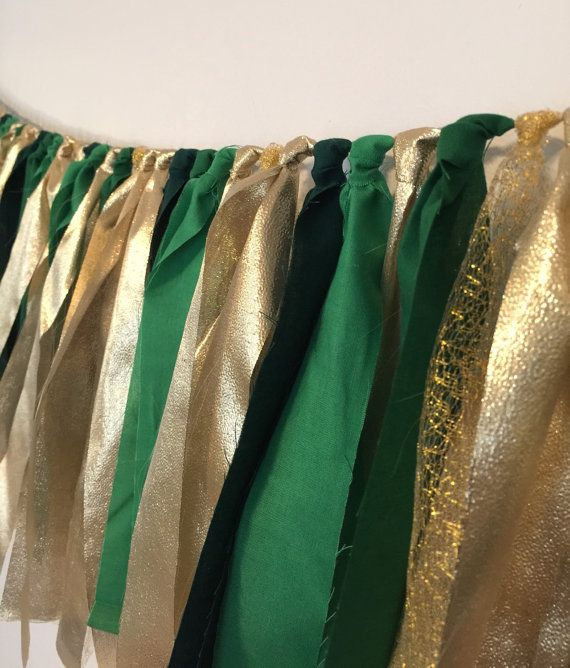 Green and gold garland fabric rag garland party banner
