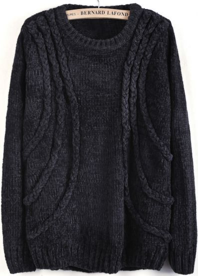 Grey Long Sleeve Cable Knit Loose Sweater pictures