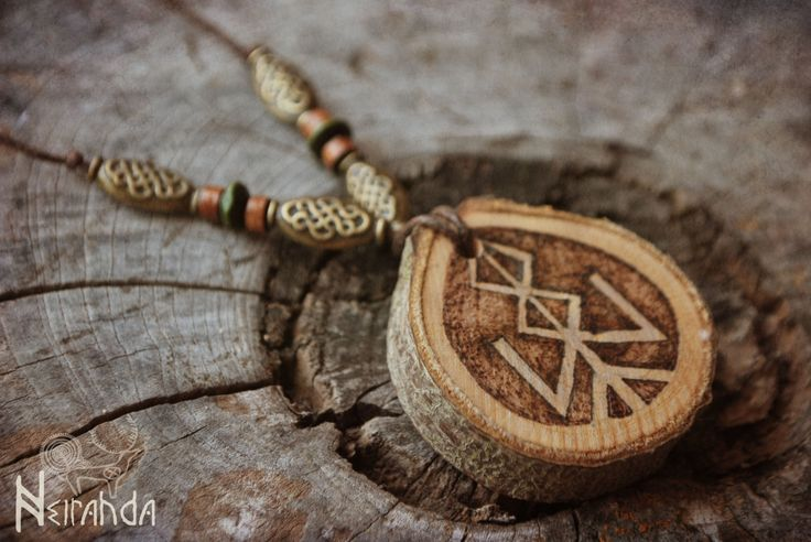Bindrune norse wood pendant by Neirahda on Etsy