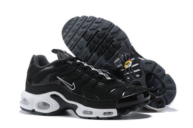 c764b8321c74 Interesting Nike Air Max Plus SE TN Sneakers Tuned 1 Taped Pull Black White  AQ4128 001 Men s Running Shoes
