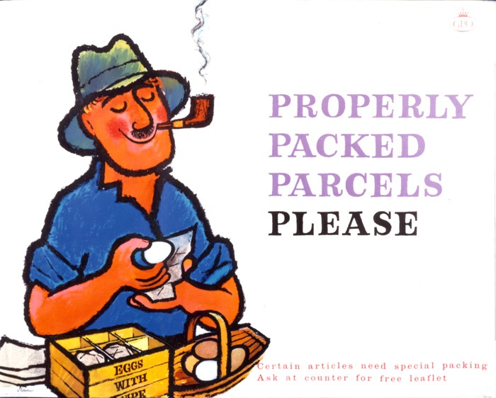 This poster from the Royal Mail Archive shows a happy man who's received eggs in the post. Has your postie brought you anything nice today?
