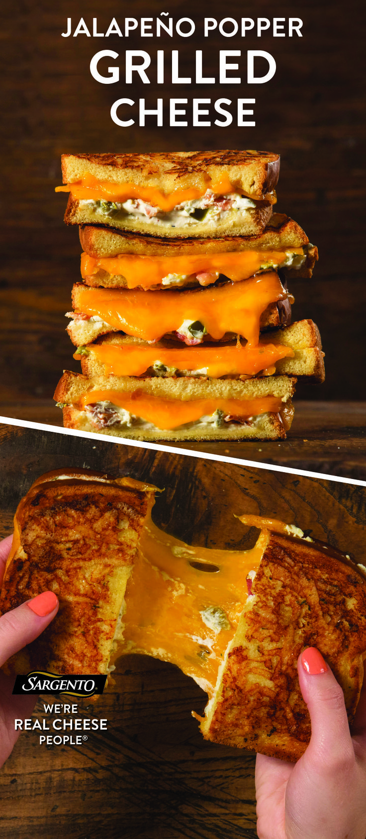 Give your next grilled cheese a kick with a jalapeño popper-inspired creation. Make it with our Sharp Cheddar cheese slices that are always 100% real, natural cheese. The fiery kick of the jalapeno blends beautifully with the sharp and creamy cheese. Take one bite of this sandwich and you'll be begging for more. For the complete recipe visit Sargento.com.