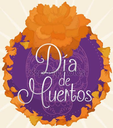 "Floral Button with Cempasuchil Petals for Mexican ""Dia de Muertos"""