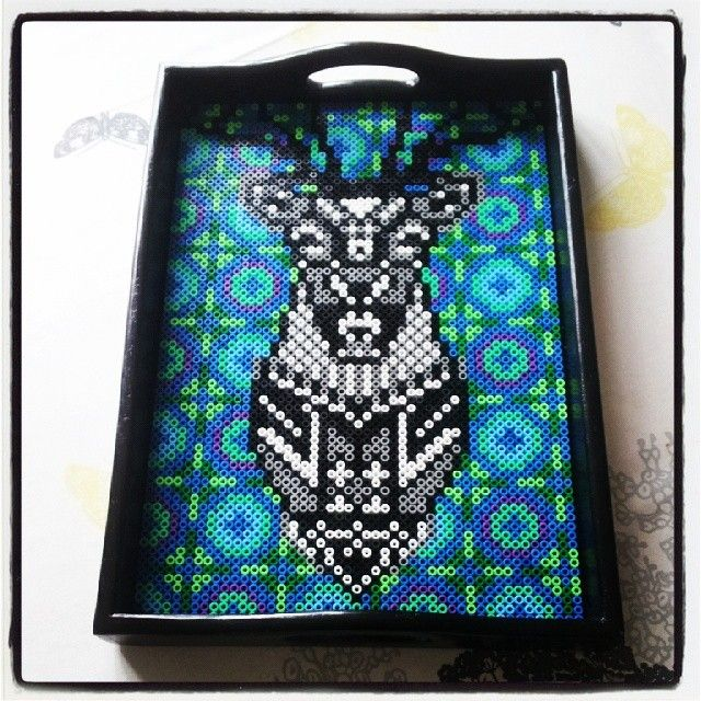Hama perler bead art on a tray by norkletoserne