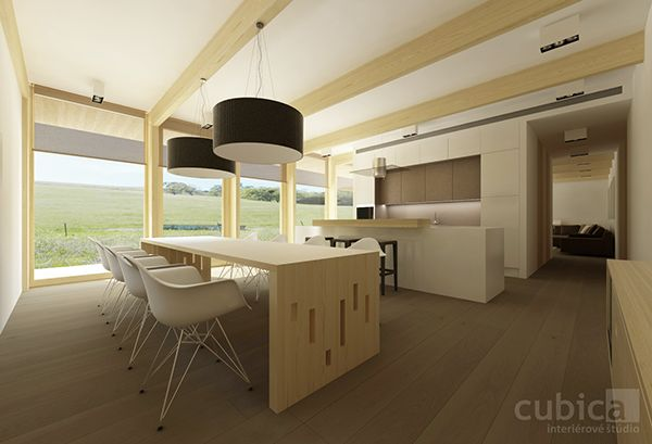 Wooden house interior design in Banska Bystrica by cubica interior design studio, via Behance