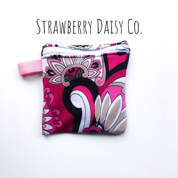 Zippered coin pouch upcycled fabric Mother's Day pink one of a kind by strawberrydaisyco on Etsy