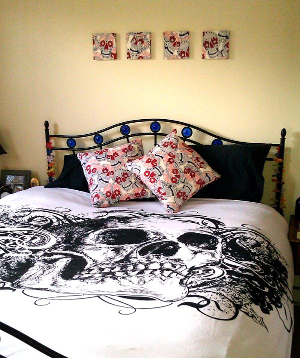 Bedroom Decor In Alexander Henry Skulls Fabric