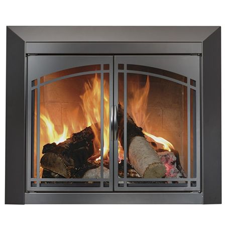 Fairmont fireplace glass door black for Residential retreat fireplace doors