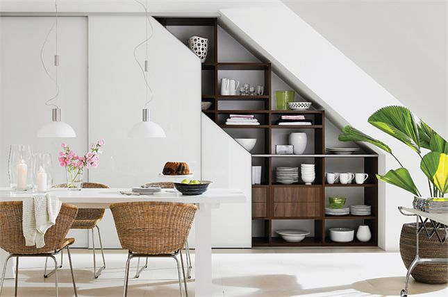 fitted sliding, under-stair wardrobe doors in white glass