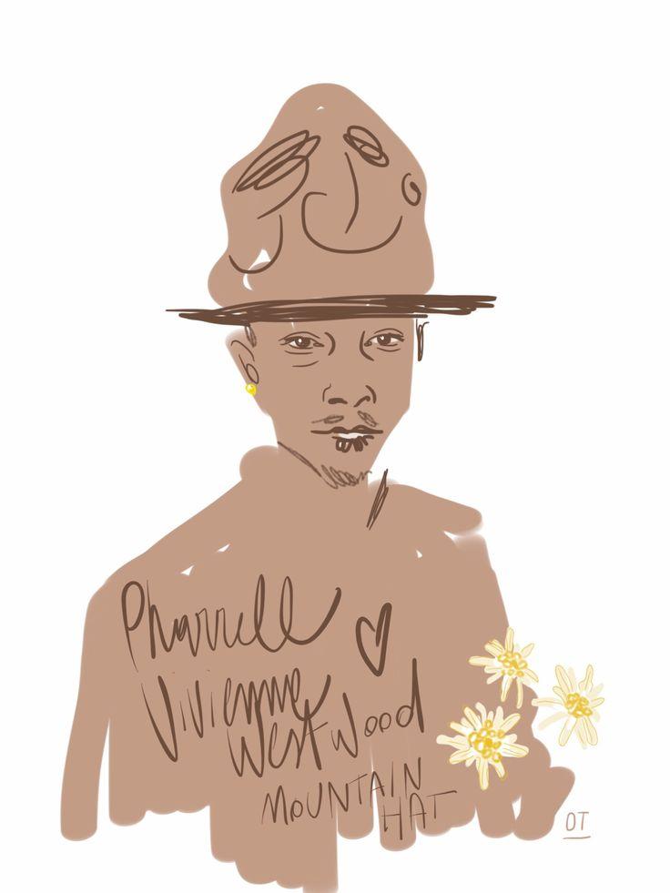 Conquistata da Pharrell Williams e dal tocco vintage del suo Mountain Hat, copia dell'originale in feltro disegnato da Vivienne Westwood negli anni 80 in sette colori: camel, black, navy, green, bo... | Opentoeillustration.com