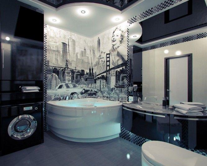 Bathroom Design, Bath Interior Design That Improve Bathroom Looks: Georgous  American Themed Mural Bathroom