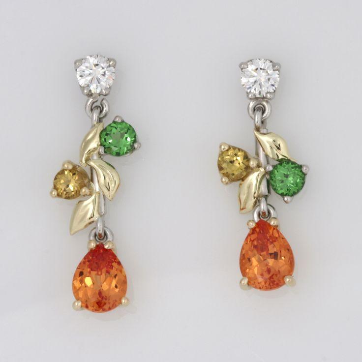 Palladium and green gold diamond and garnet drop earrings