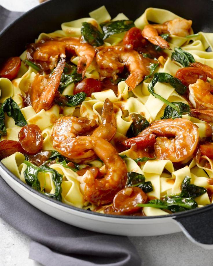 Pappardelle met scampi's en spinazie