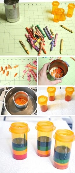 Fabriquer des crayons multicolores en recyclant les crayons gras cassés