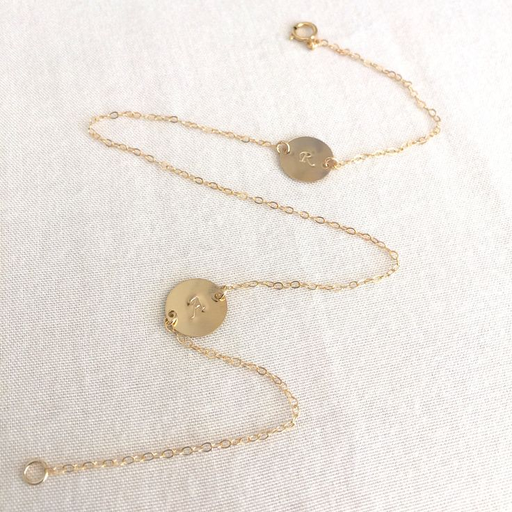 Personalized Disc Bracelet, Wrap Bracelet, Layered Bracelet,Initial Bracelet,Initial Disc,Customized Bracelet,Gold Disc Bracelet,Gold Filled by StampedSchmuck on Etsy