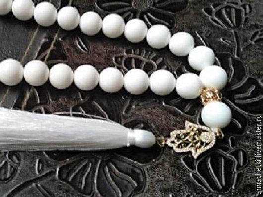 Купить Четки 002 - белый, однотонный, четки, четки ручной работы, четки из камня