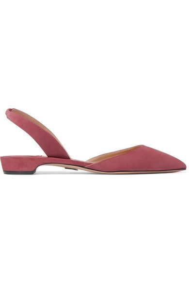 Paul Andrew - Rhea Suede Point-toe Flats - Antique rose