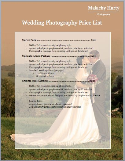 Wedding Photography Price List Template