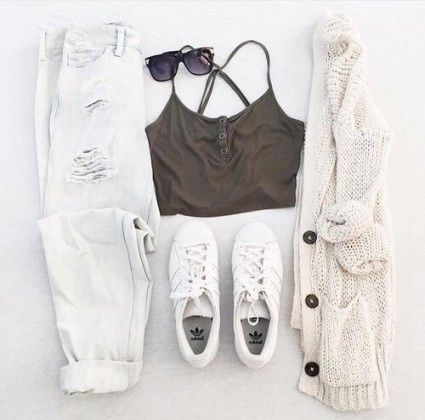 all white casual outfit / #fall #fashion                                                                                                                                                                                 More