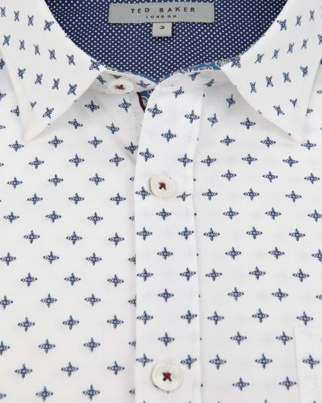 Cross print shirt - White | Shirts | Ted Baker UK