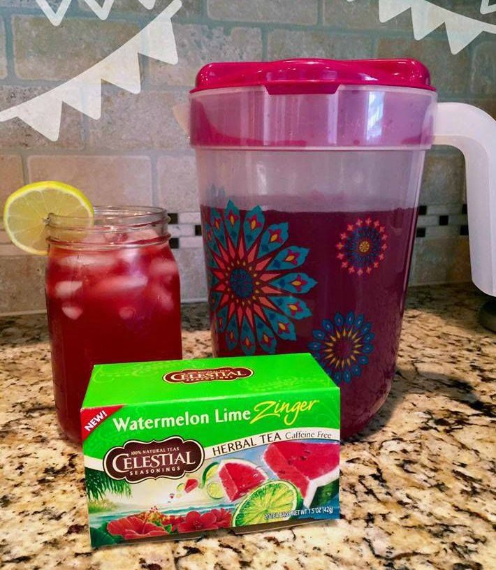 Watermelon Lime Good Girl Moon Shine!  *6 watermelon lime tea bags  *1/4 - 1/2 cup of Apple Cider Vinegar *juice of 2 to 3 limes. 1/2 to 2 teaspoons of Trim Healthy Mama pure stevia extract   ~steep tea bags in just off the boil water and allow to cool slightly. ~Combine tea with all other ingredients in a pitcher and fill with water to reach a gallon