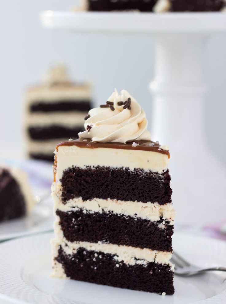 A decadent chocolate cake with salted caramel frosting combines indulgent chocolate cake recipe and a sweet and salty frosting.