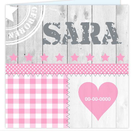 Trendy en stoer geboortekaartje voor een meisje met steigerhout en roze hartje.