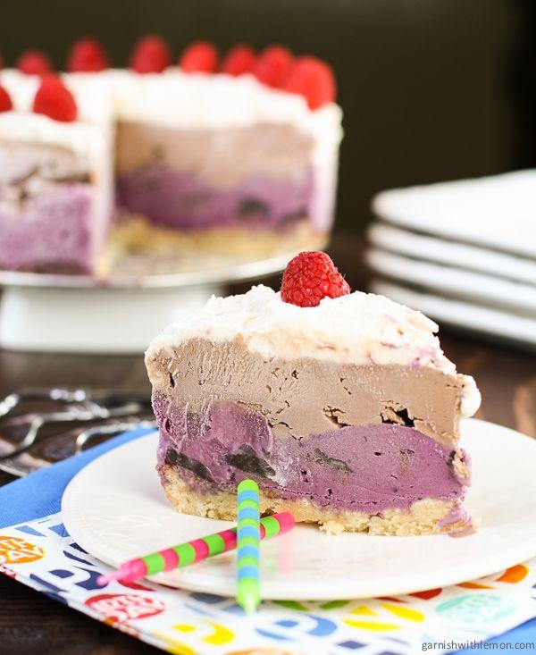 Raspberry Chocolate Chip Ice Cream Cake | Garnish with Lemon