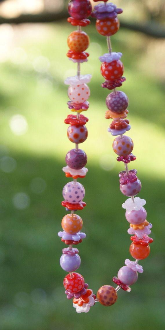 """""""Volapûk"""", collier de perles de verre filées à la flamme"""