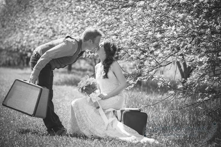 Our vintage suitcases in seriously romantic action.  Photo courtesy of Shoot for the Stars Photography. #Collingwood #suitcases #vintagerentals
