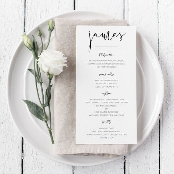 Wedding Menu Template Printable Place Cards Menu Cards Menu Etsy Wedding Menu Template Printable Wedding Menu Template Wedding Place Cards