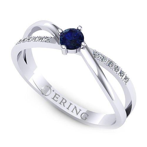 Inel logodna L124ASF inel cu diamant si safir