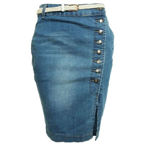 Body-con Knee Length Denim Skirt with Vent Design found on Polyvore