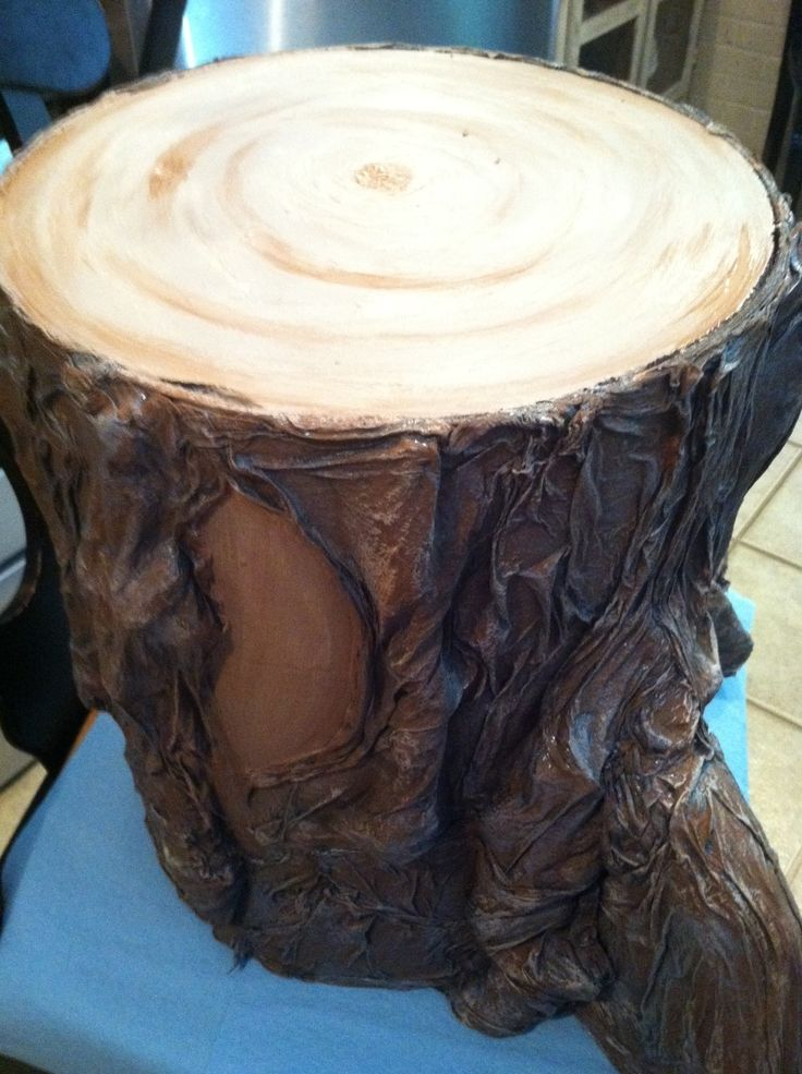 Made tree stump from cement form and paper towels for journey off the map VBS 2015.