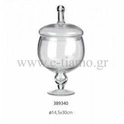 Διακοσμητική Γυάλα με Καπάκι Διάσταση: Φ14.5 Χ 30 cm