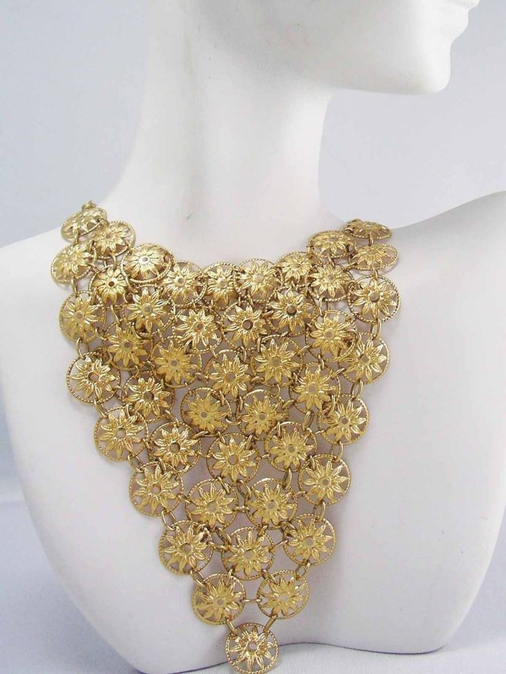 Gold Plate Vintage ETRUSCAN REVIVAL Multi Link Chain Swag Bib Necklace~EXCUISITE