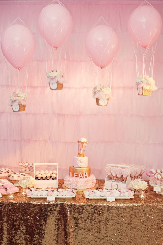 A Glittering Pink and Gold Hot Air Balloon Themed Birthday Party, tulle backdrop: