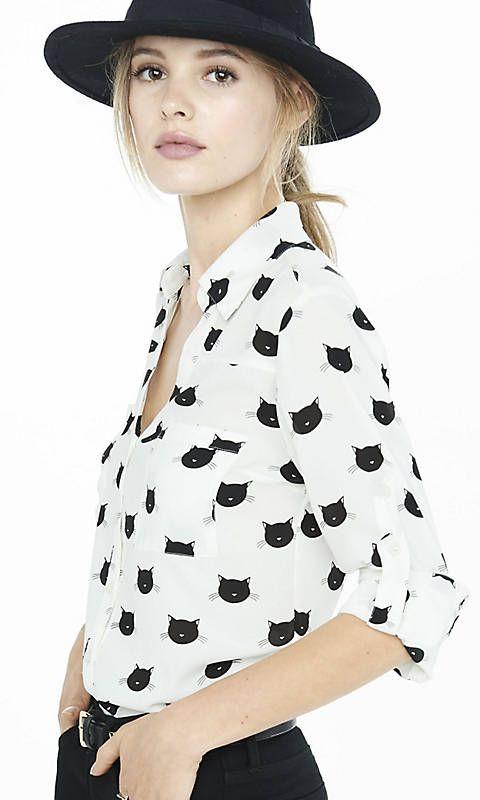 c938e78e258f5 Cat Print Portofino Shirt